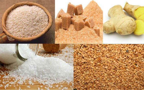 Những nguyên liệu và dụng cụ cần để nấu món chè kho bằng gạo nếp cái hoa vàng